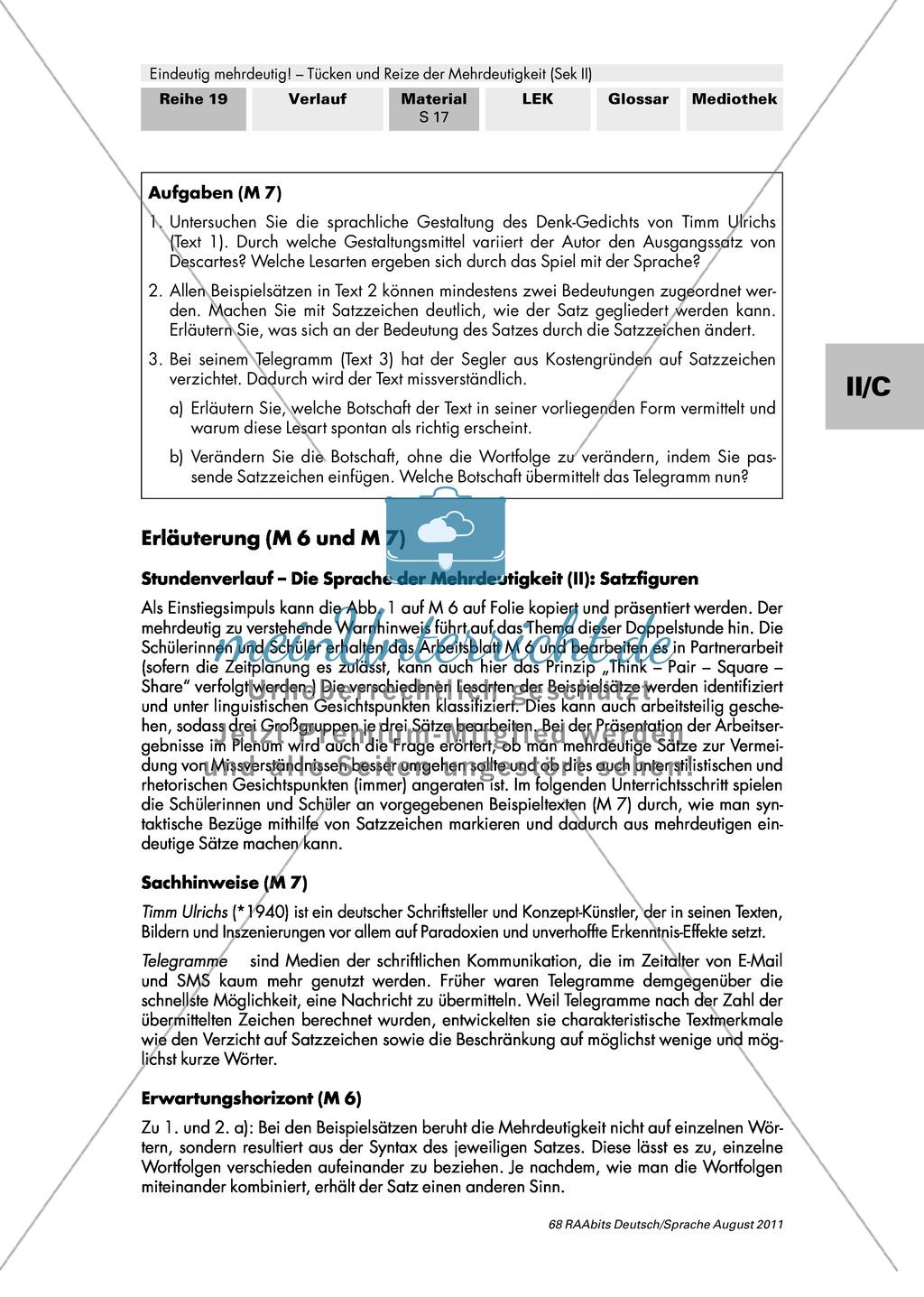 Satzverwirrung und Wortsalat - Mehrdeutige Sätze: Aufgaben + Erläuterung + Erwartungshorizont: Material einzeln Preview 2