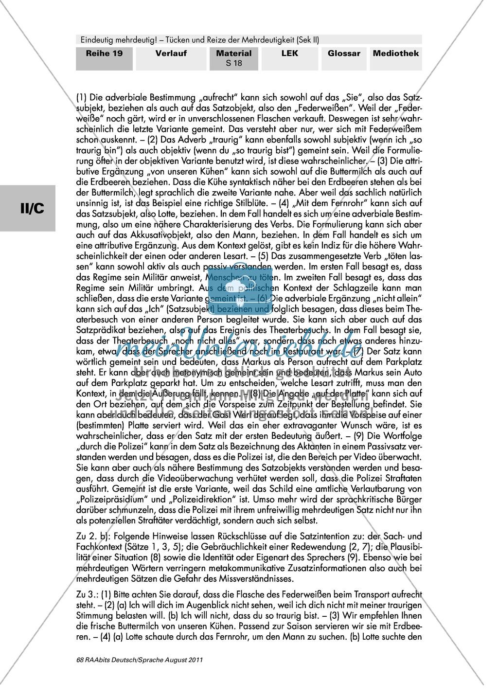 Satzverwirrung und Wortsalat - Mehrdeutige Sätze: Aufgaben + Erläuterung + Erwartungshorizont: Material einzeln Preview 3