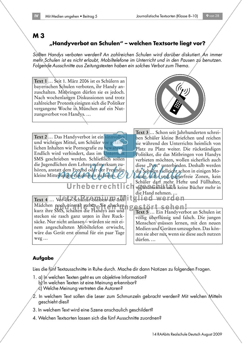 Merkmale journalistischer Textsorten: Arbeitsblatt + Hinweise + ...