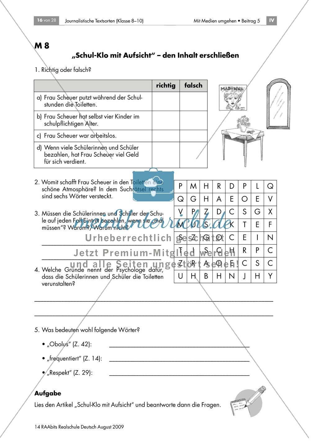 """""""Schul-Klo mit Aufsicht"""" - Textsorte erkennen: Arbeitsblatt + Hinweise + Erwartungshorizont: Material einzeln Preview 1"""