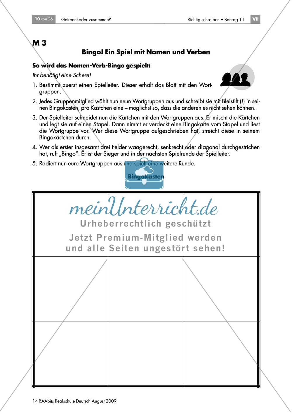 Bingo! Ein Spiel mit Nomen und Verben: Spielmaterial + Hinweise: Material einzeln Preview 0