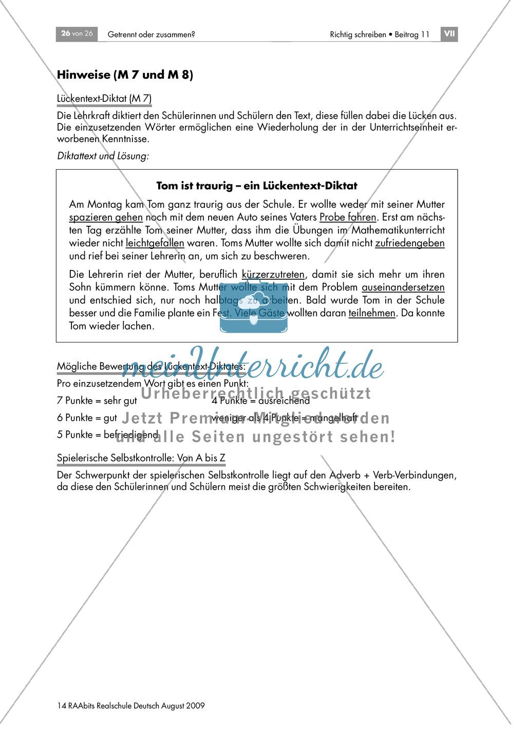 Selbstkontrolle: Getrennt- und Zusammenschreibung: Lückentext + Hinweise: Material einzeln Preview 2