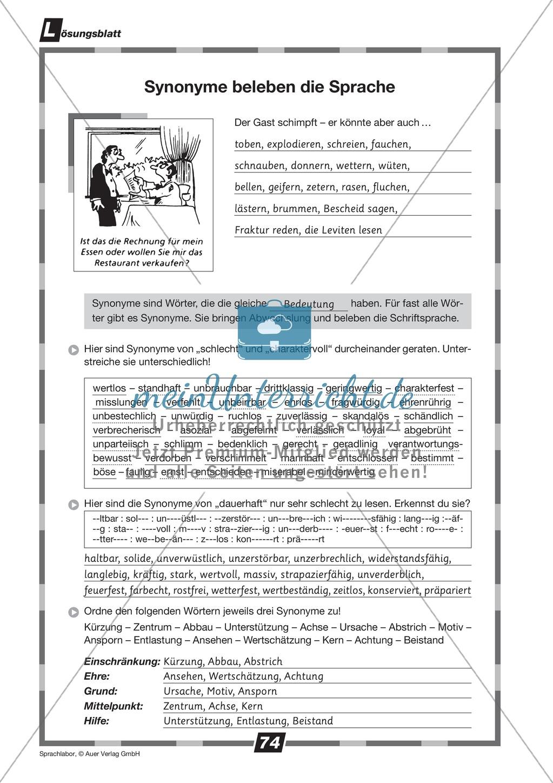 Synonyme verwenden: Übungen + Lösungen Preview 1