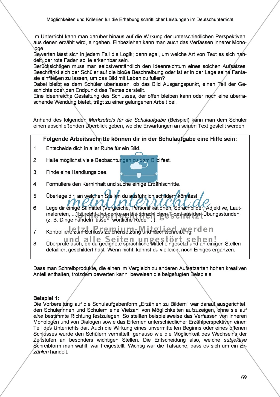 Möglichkeiten und Kriterien für die Erhebung schriftlicher Leistungen im Deutschunterricht: Weitere ausgewählte Schreibformen - Kreatives Schreiben Preview 12