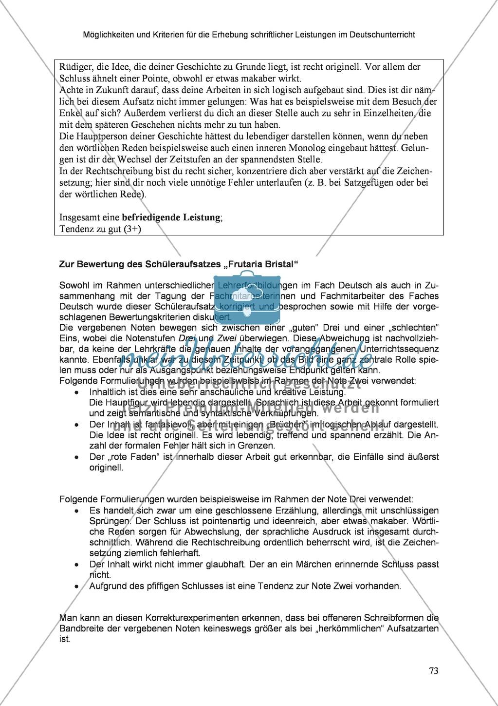Möglichkeiten und Kriterien für die Erhebung schriftlicher Leistungen im Deutschunterricht: Weitere ausgewählte Schreibformen - Kreatives Schreiben Preview 16
