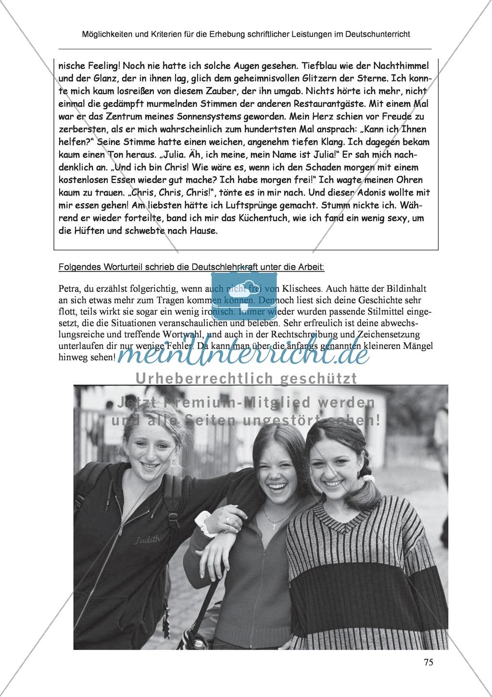 Möglichkeiten und Kriterien für die Erhebung schriftlicher Leistungen im Deutschunterricht: Weitere ausgewählte Schreibformen - Kreatives Schreiben Preview 18