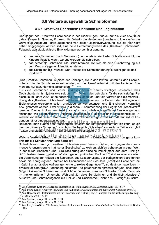 Möglichkeiten und Kriterien für die Erhebung schriftlicher Leistungen im Deutschunterricht: Weitere ausgewählte Schreibformen - Kreatives Schreiben Preview 1