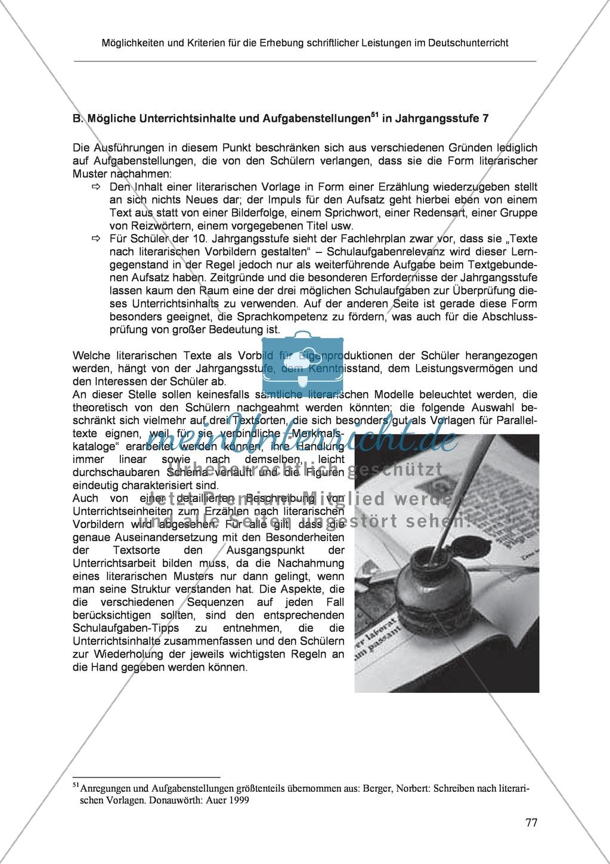 Möglichkeiten und Kriterien für die Erhebung schriftlicher Leistungen im Deutschunterricht: Weitere ausgewählte Schreibformen - Kreatives Schreiben Preview 20