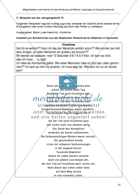 Möglichkeiten und Kriterien für die Erhebung schriftlicher Leistungen im Deutschunterricht: Weitere ausgewählte Schreibformen - Kreatives Schreiben Preview 24