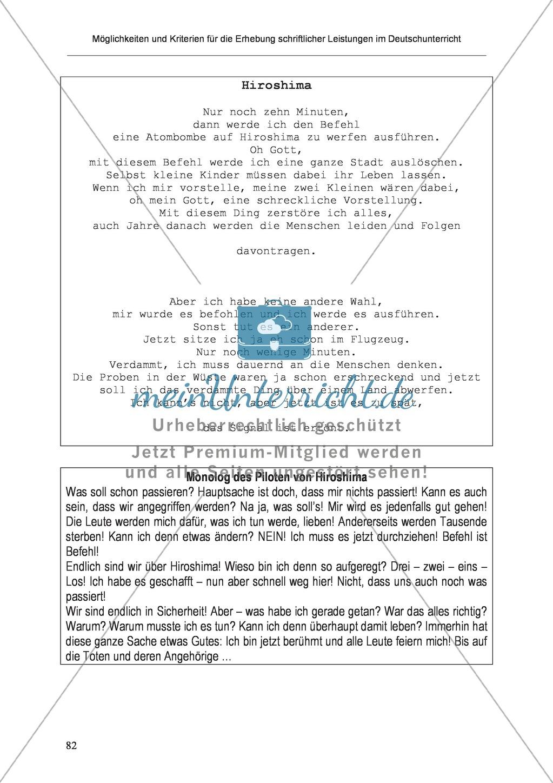 Möglichkeiten und Kriterien für die Erhebung schriftlicher Leistungen im Deutschunterricht: Weitere ausgewählte Schreibformen - Kreatives Schreiben Preview 25