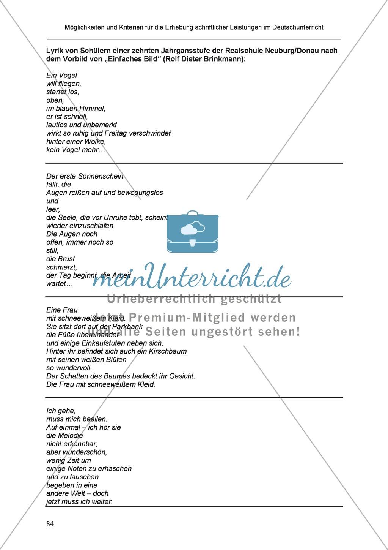 Möglichkeiten und Kriterien für die Erhebung schriftlicher Leistungen im Deutschunterricht: Weitere ausgewählte Schreibformen - Kreatives Schreiben Preview 27