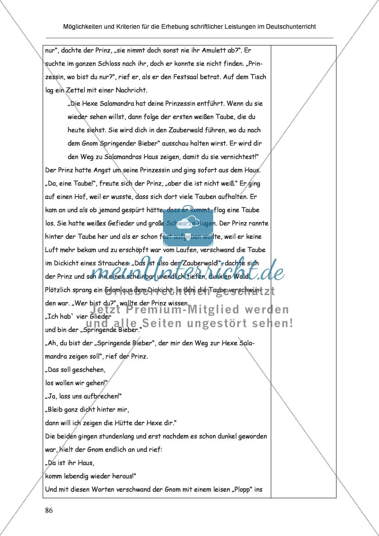 Möglichkeiten und Kriterien für die Erhebung schriftlicher Leistungen im Deutschunterricht: Weitere ausgewählte Schreibformen - Kreatives Schreiben Preview 29