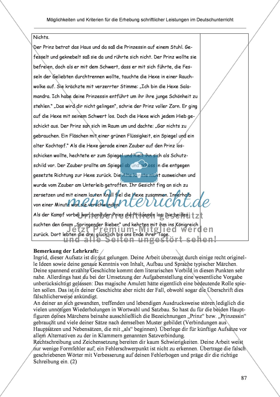 Möglichkeiten und Kriterien für die Erhebung schriftlicher Leistungen im Deutschunterricht: Weitere ausgewählte Schreibformen - Kreatives Schreiben Preview 30