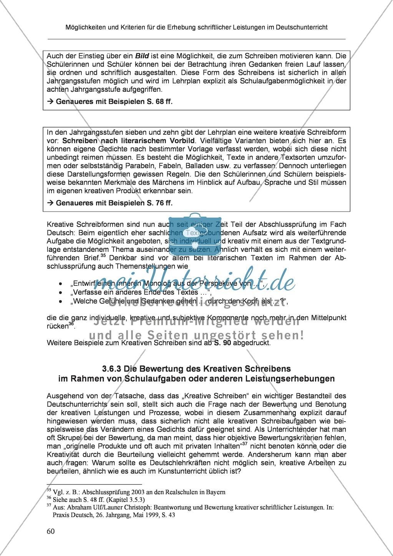 Möglichkeiten und Kriterien für die Erhebung schriftlicher Leistungen im Deutschunterricht: Weitere ausgewählte Schreibformen - Kreatives Schreiben Preview 3
