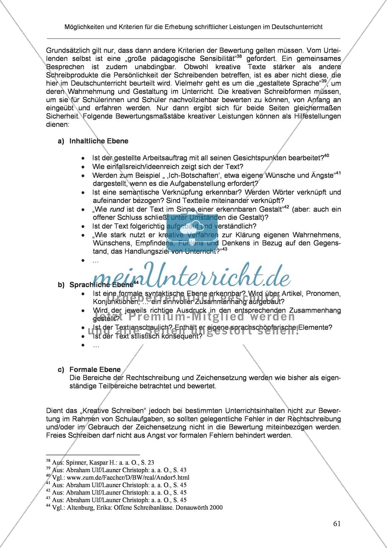 Möglichkeiten und Kriterien für die Erhebung schriftlicher Leistungen im Deutschunterricht: Weitere ausgewählte Schreibformen - Kreatives Schreiben Preview 4