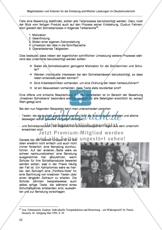 Möglichkeiten und Kriterien für die Erhebung schriftlicher Leistungen im Deutschunterricht: Weitere ausgewählte Schreibformen - Kreatives Schreiben Preview 5