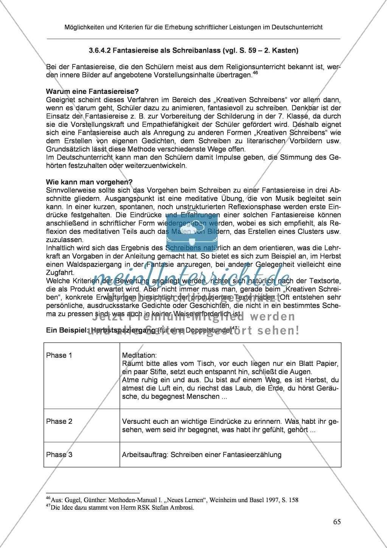Möglichkeiten und Kriterien für die Erhebung schriftlicher Leistungen im Deutschunterricht: Weitere ausgewählte Schreibformen - Kreatives Schreiben Preview 8