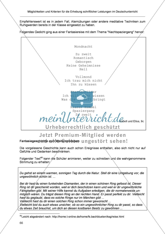 Möglichkeiten und Kriterien für die Erhebung schriftlicher Leistungen im Deutschunterricht: Weitere ausgewählte Schreibformen - Kreatives Schreiben Preview 9