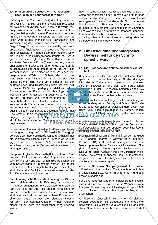 DIe Bedeutung phonologischer Bewusstheit für den Schriftspracherwerb: Informationstext Preview 0