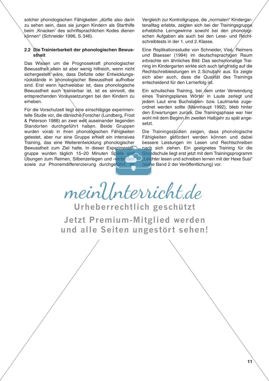 DIe Bedeutung phonologischer Bewusstheit für den Schriftspracherwerb: Informationstext Preview 1