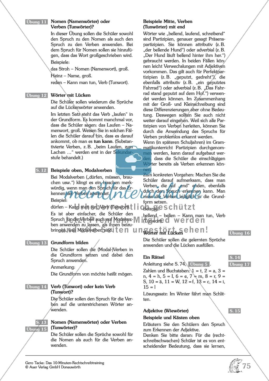 Groß- und Kleinschreibung - Verben: Arbeitsblatt + Erläuterung ...