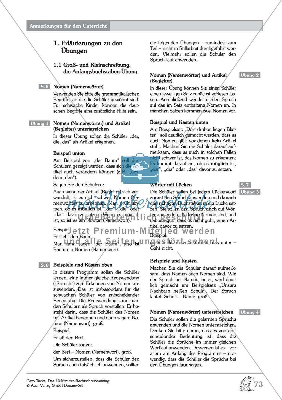 Groß- und Kleinschreibung - Nomen: Arbeitsblatt + Erläuterung ...