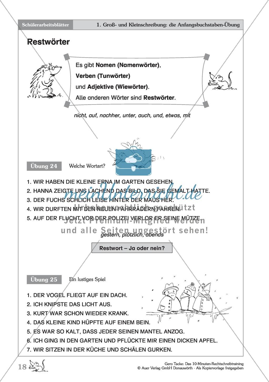 Groß- und Kleinschreibung - Restwörter: Arbeitsblatt + Erläuterung Preview 1