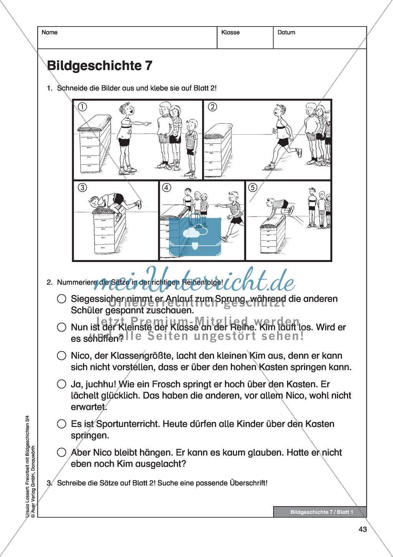"""bildergeschichte """"in der sportstunde"""": bildmaterial + arbeitsblätter"""