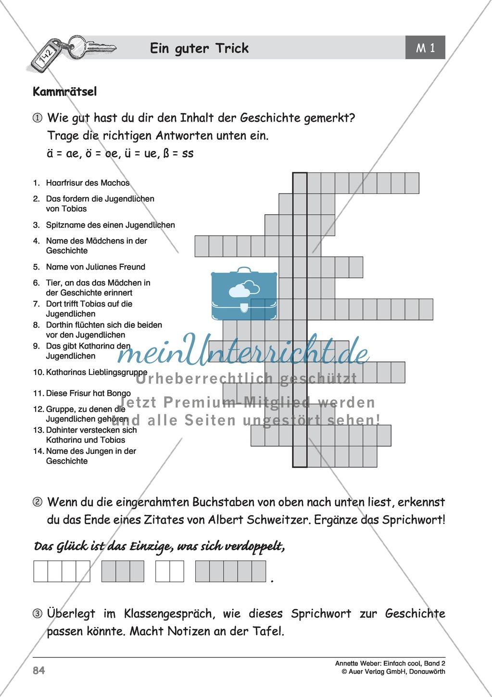 """Rätsel zur Kurzgeschichte """"Ein guter Trick"""": Arbeitsblatt + Lösung Preview 1"""