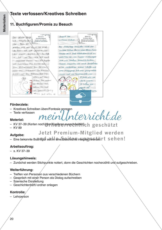 Texte verfassen/Kreatives Schreiben - Buchfiguren/Promis zu Besuch: Erläuterung + Übungen + Blankovorlage Preview 0