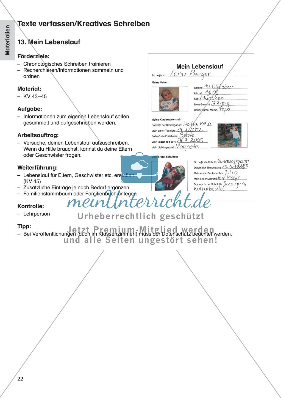 Texte verfassen/Kreatives Schreiben - Mein Lebenslauf: Erläuterung + Übungen Preview 1