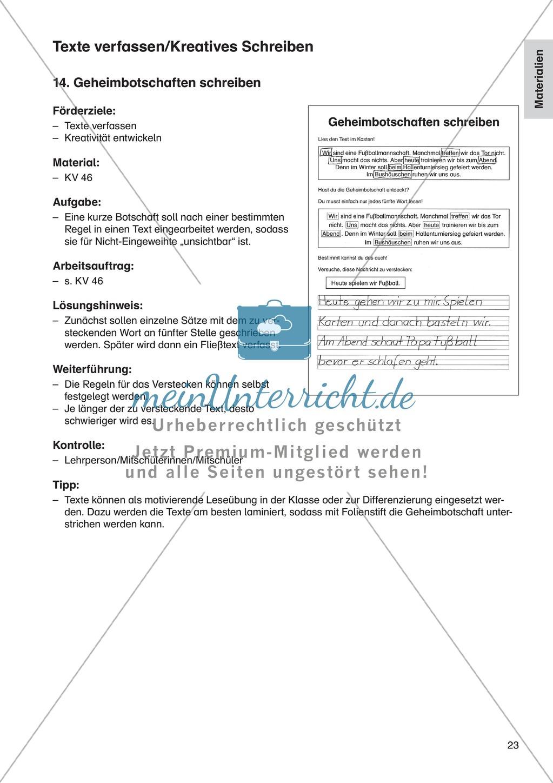 Texte verfassen/Kreatives Schreiben - Geheimbotschaften schreiben: Erläuterung + Übung Preview 1