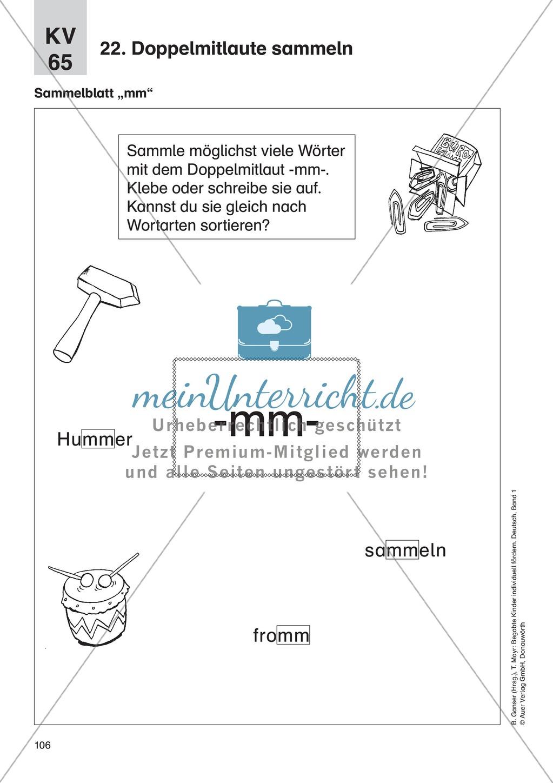 Wortschatzerweiterung - Doppelmitlaute sammeln: Erläuterung + Übungen Preview 1