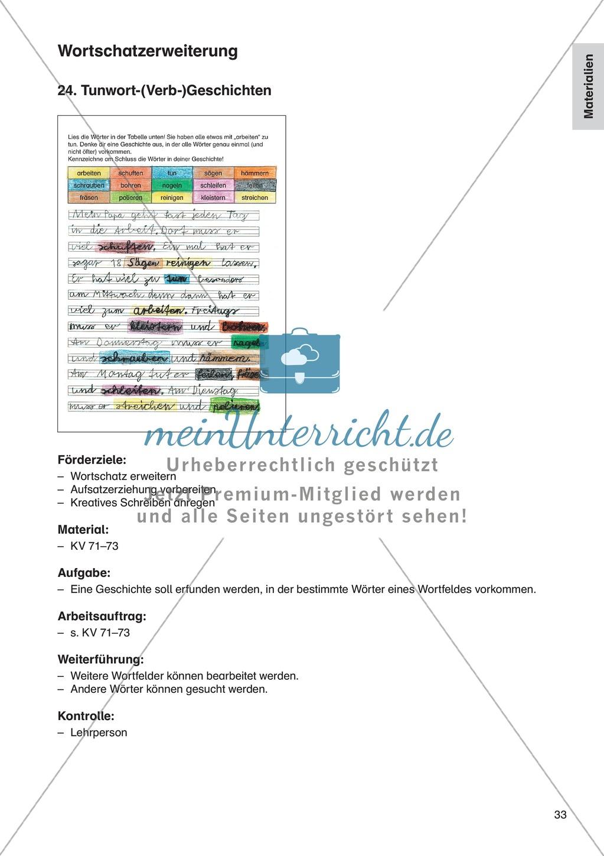 Wortschatzerweiterung - Tunwort-(Verb-)Geschichten: Erläuterung + Übungen Preview 0