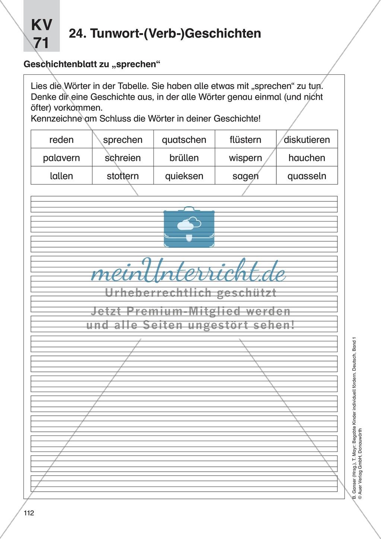 Wortschatzerweiterung - Tunwort-(Verb-)Geschichten: Erläuterung + Übungen Preview 1