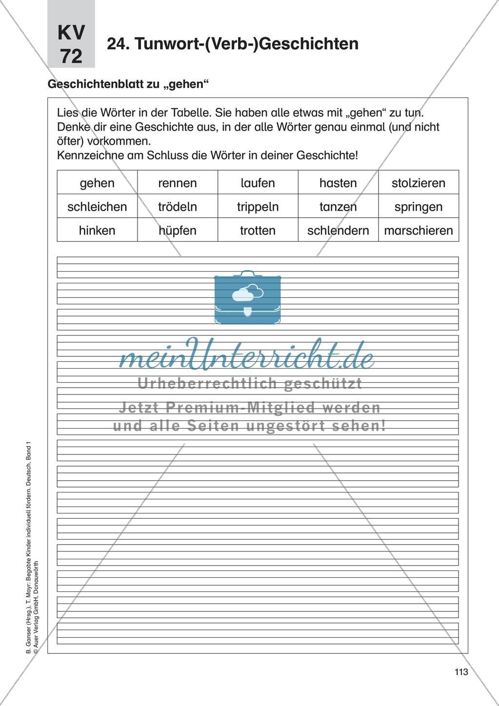 Wortschatzerweiterung - Tunwort-(Verb-)Geschichten: Erläuterung + Übungen Preview 2
