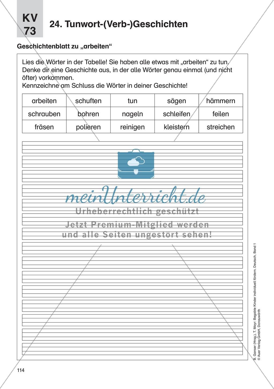 Wortschatzerweiterung - Tunwort-(Verb-)Geschichten: Erläuterung + Übungen Preview 3