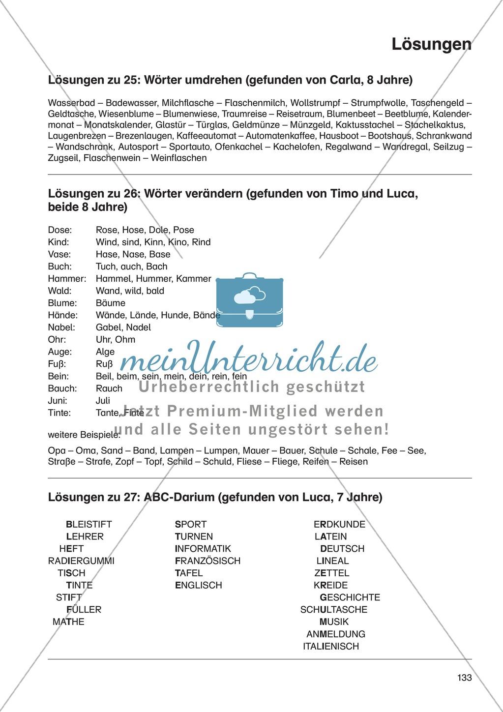 Wort- und Sprachspiele - ABC-Darium: Erläuterung + Übungen + Lösung Preview 4