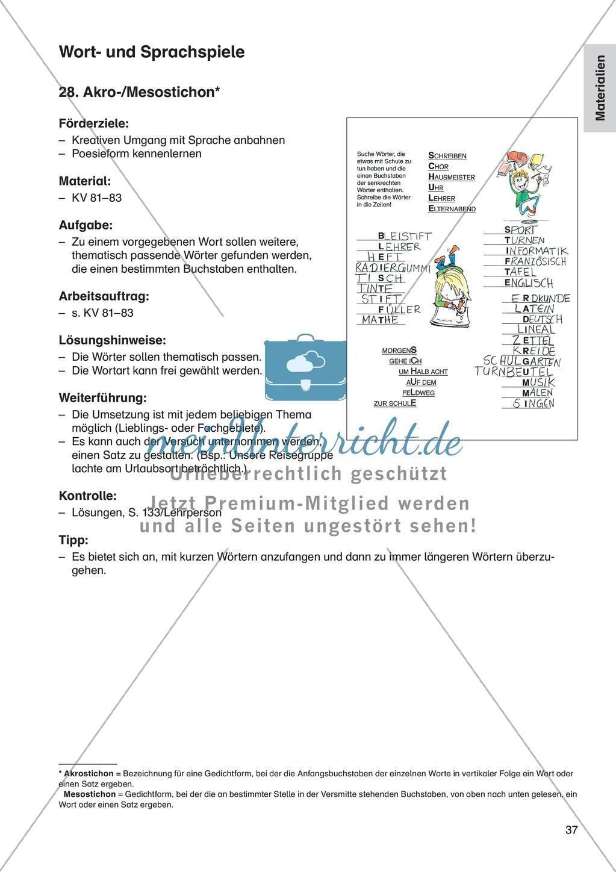 Wort- und Sprachspiele - Akro-/Mesostichon: Erläuterung + Übungen Preview 1