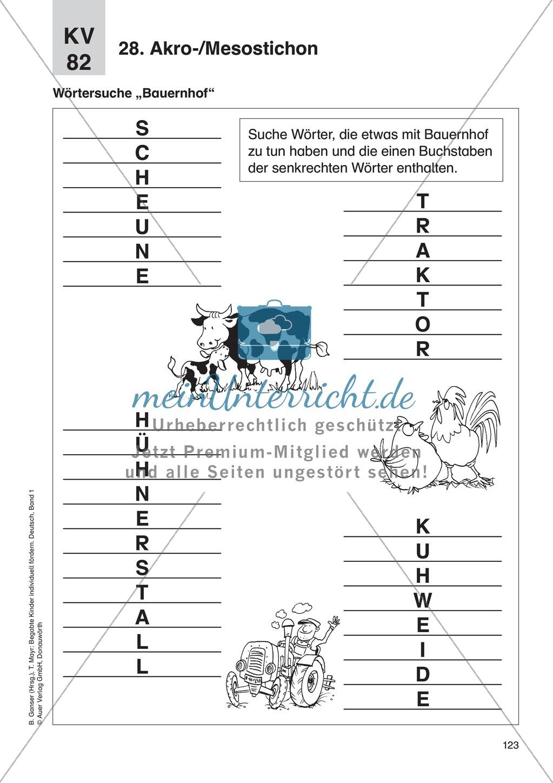 Wort- und Sprachspiele - Akro-/Mesostichon: Erläuterung + Übungen Preview 3