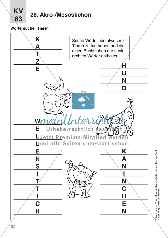Wort- und Sprachspiele - Akro-/Mesostichon: Erläuterung + Übungen Preview 4