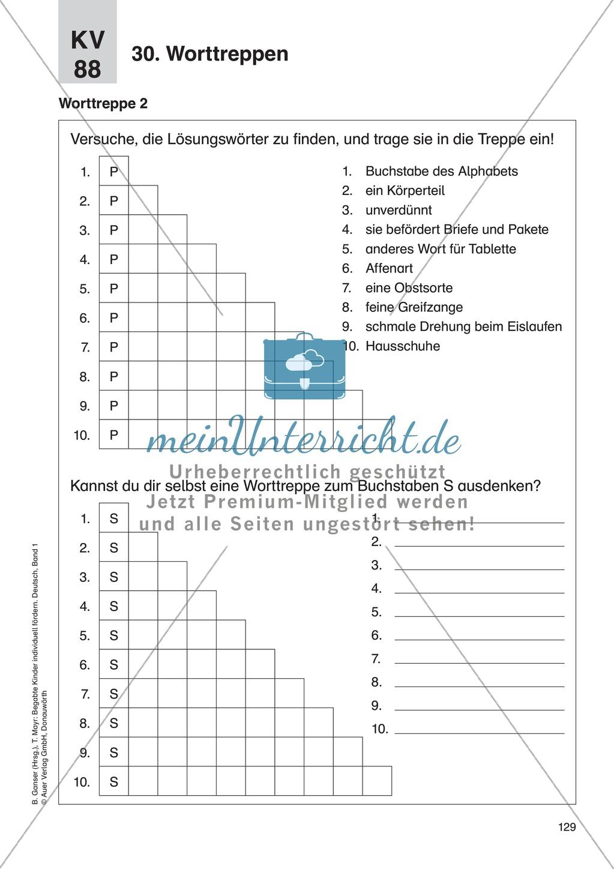 Wort- und Sprachspiele - Worttreppen: Erläuterung + Übungen + Lösung Preview 2