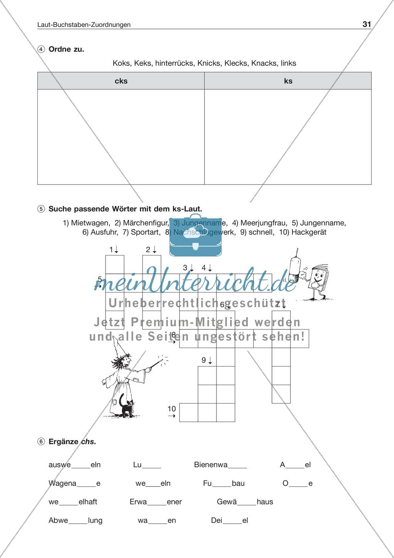 Laut-Buchstaben-Zuordnung: Wörter mit ks-Laut: Arbeitsblatt + Lösung Preview 1