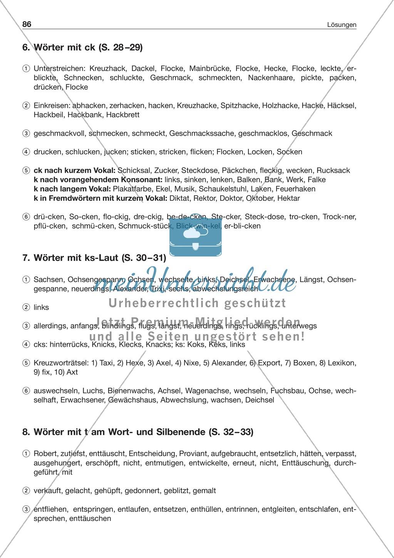 Laut-Buchstaben-Zuordnung: Wörter mit ks-Laut: Arbeitsblatt + Lösung ...