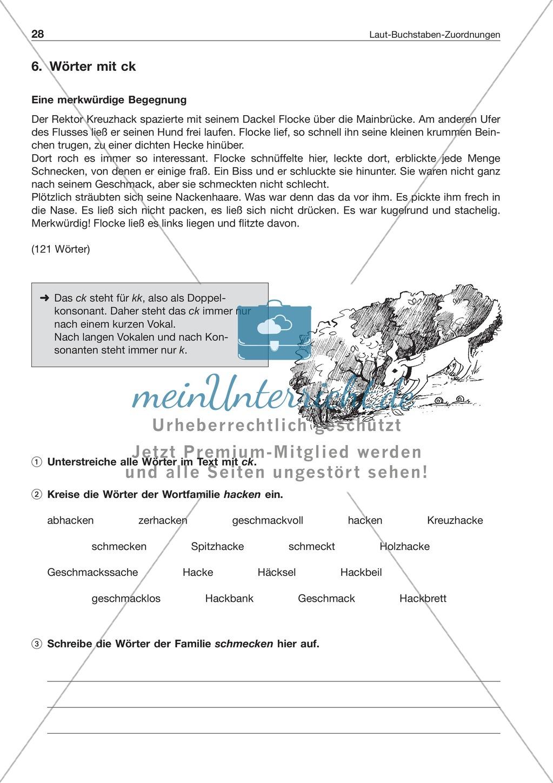 Laut-Buchstaben-Zuordnung: Wörter mit ck: Arbeitsblatt + Lösung ...