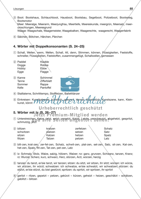Laut-Buchstaben-Zuordnung: Wörter mit Doppelkonsonanten: Arbeitsblatt + Lösung Preview 2