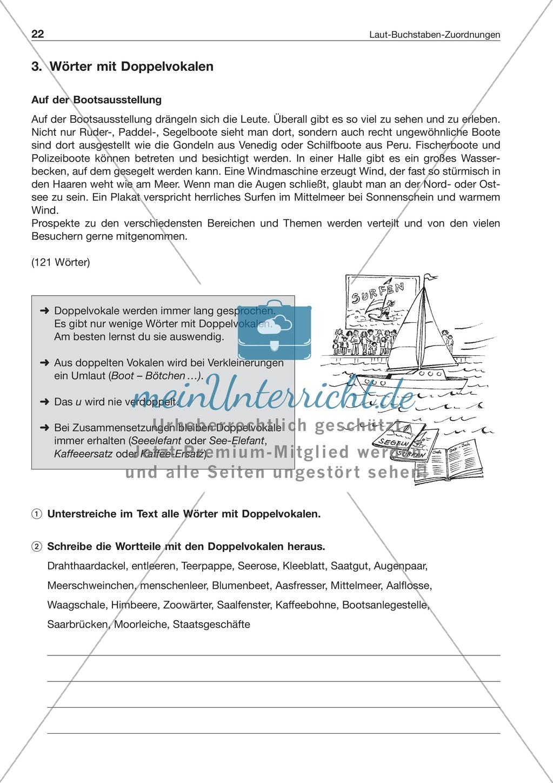 Laut-Buchstaben-Zuordnung: Wörter mit Doppelvokalen: Arbeitsblatt + ...