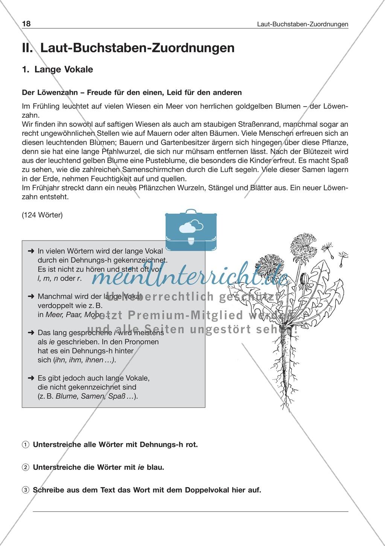 Laut-Buchstaben Zuordnung: Lange Vokale: Arbeitsblatt + Lösung ...