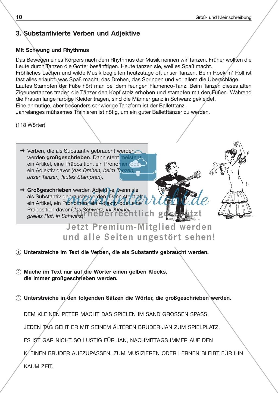 Groß- und Kleinschreibung: Substantivierte Verben + Adjektive: Arbeitsblatt + Lösung Preview 0