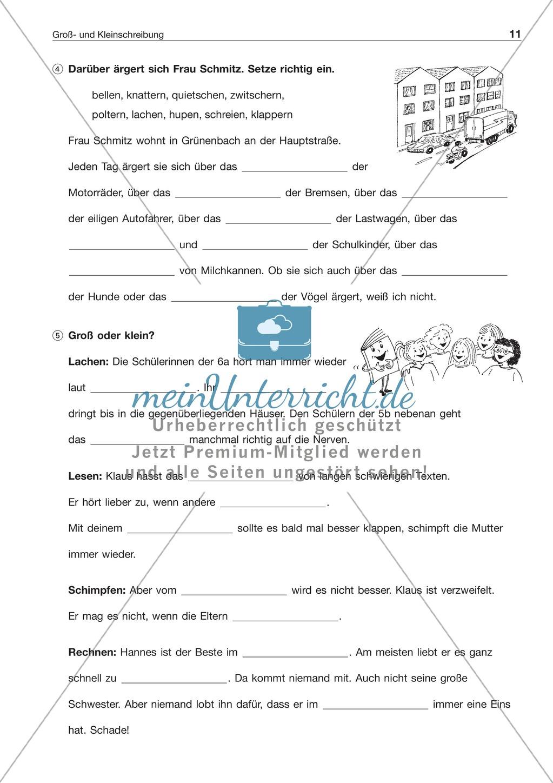 Groß- und Kleinschreibung: Substantivierte Verben + Adjektive: Arbeitsblatt + Lösung Preview 1